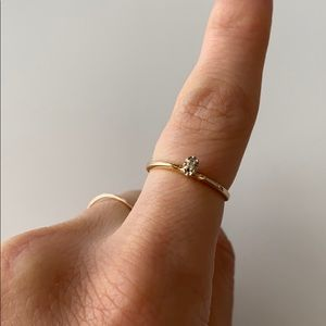 Vintage 10K Gold Ring with Small Dainty Diamond